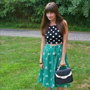 Dresses & Skirts - Mod Cloth Green Polka Dot and Bow Print Skirt